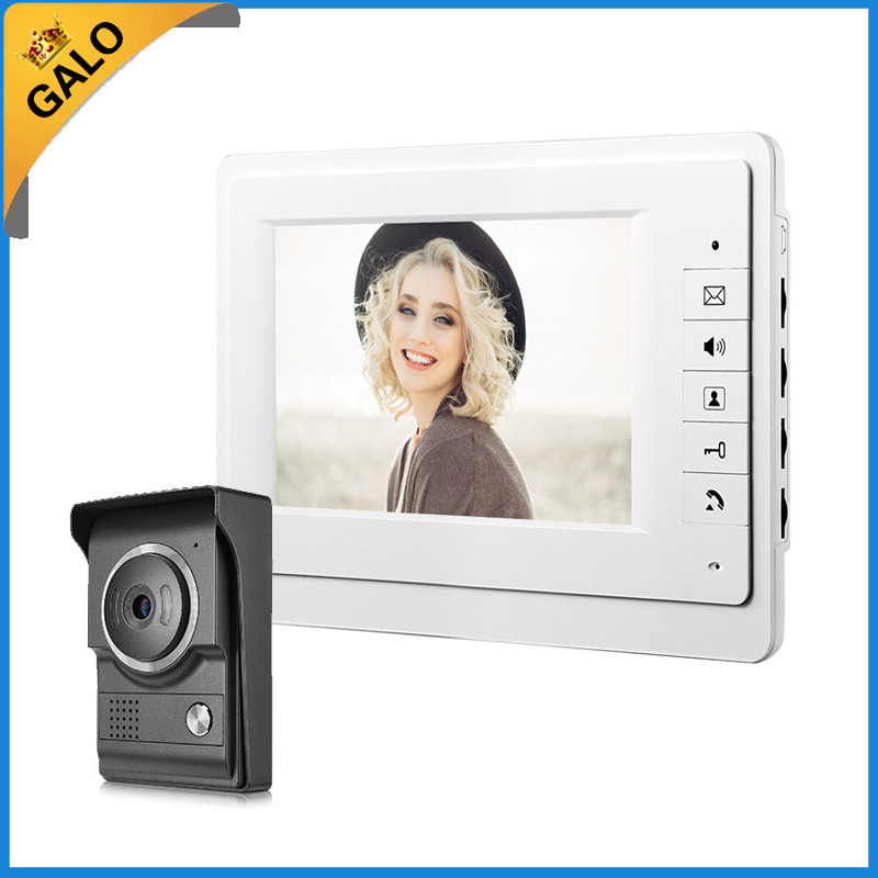 7'' TFT LCD Wired Video Door Phone System Visual Intercom Doorbell 800x480 Indoor Monitor 700TVL Outdoor Infrared Camera homefong villa wired night visual color video door phone doorbell intercom system 4 inch tft lcd monitor 800tvl camera handfree