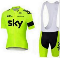 2016 Fluor Green Team Sky Cycling Jersey Quick Dry Ropa Ciclismo Bicycling Shirts Bike Bibs Gel