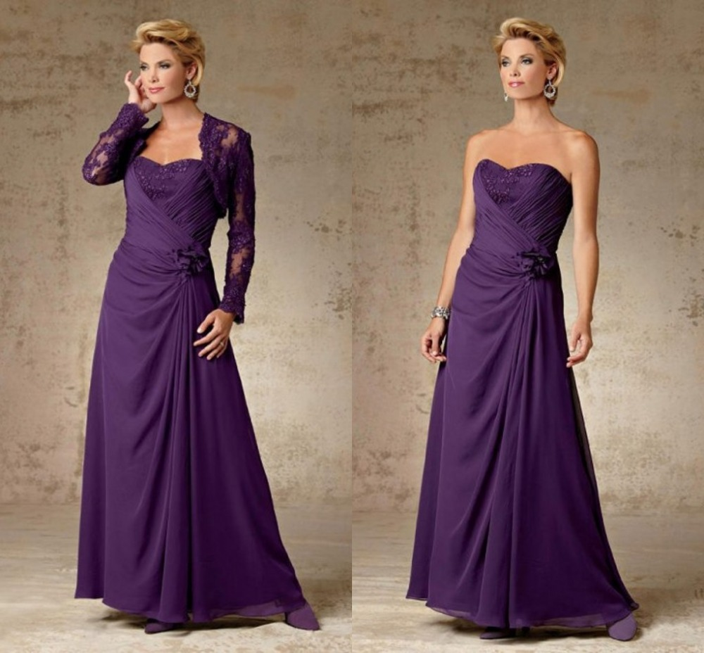 2015 New A-Line Sweetheart Long Chiffon Mother Of The Bride Dresses With Jacket Full Sleeve Wedding Guest Dress Draped F1264