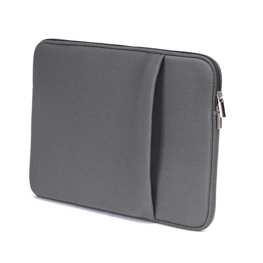 "Grey Tas Laptop Lembut Zipper Kantong 11 ""/12""/13 ""/14""/15"" /15.6 ""/17 Tas Case Cover untuk Macbook Air Pro Ultrabook Notebook Tablet"