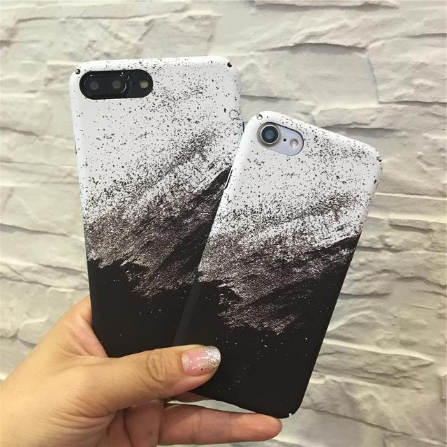 cb6766e15892b0 Retro Simple Black White marble Case + Soft Tempered Glass Screen Protector  For iPhone 6 6s 8 7 plus Gradient Marble Phone Case