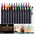 Tinte auf wasserbasis Aquarell Marker Zeichnung Stifte Färbung Brushpen Dual Tip Marker Kunst Liefert Filz Spitze-in Kunst-Marker aus Büro- und Schulmaterial bei