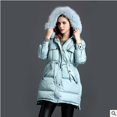 2016 new hot winter Thicken Warm woman Down jacket Coat Parkas Outerwear Hooded fox Fur collar long plus size Slim Luxury Cold