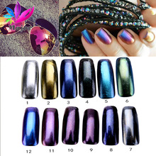 Shinning Aurora Magic Mirror Chrome Nail Art Glitter Powder Colorful Pigment Flakes Dust Decoration Manicure Tips