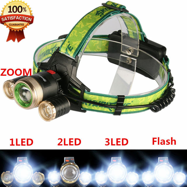 Zoomable 4 Modes 5000Lm Headlight Headlamp CREE XML T6 LED Head torch Zoom Hunting Lamp Head Light Use 18650 Battery