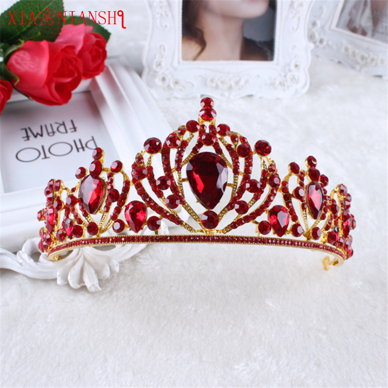 XIAONIANSHI New Designs Queen Crown Red Crystal Tiara Head Jewelry