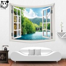 ФОТО peiyuan new design fake window home decorative wholesale factory custom made wall tapestry