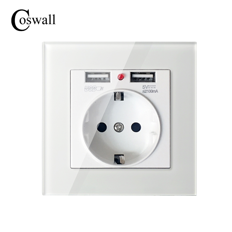 COSWALL 2017 pared toma de corriente a tierra 16A enchufe eléctrico estándar de la UE con 2100mA puerto Dual del cargador del USB para móviles