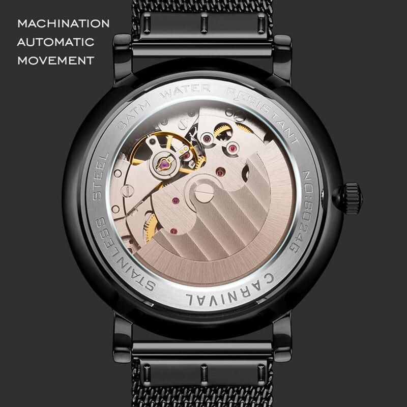 Carniva men relógio automático malha banda breve ultra fino pequenos segundos dial 24 horas relógio mecânico de luxo simples relógio de negócios - 2