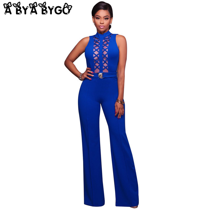 ABYABYGO 2018 Rompers Womens Jumpsuit Sexy for Womens Bodycon Backless Hollow Out Overalls Playsuit Outfits Plus Size Jumpsuit
