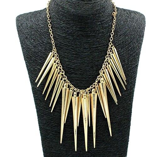 Women's Multilayer Spike Rivet Tassels Chain Bib Statement Necklace Punk 9A7Z