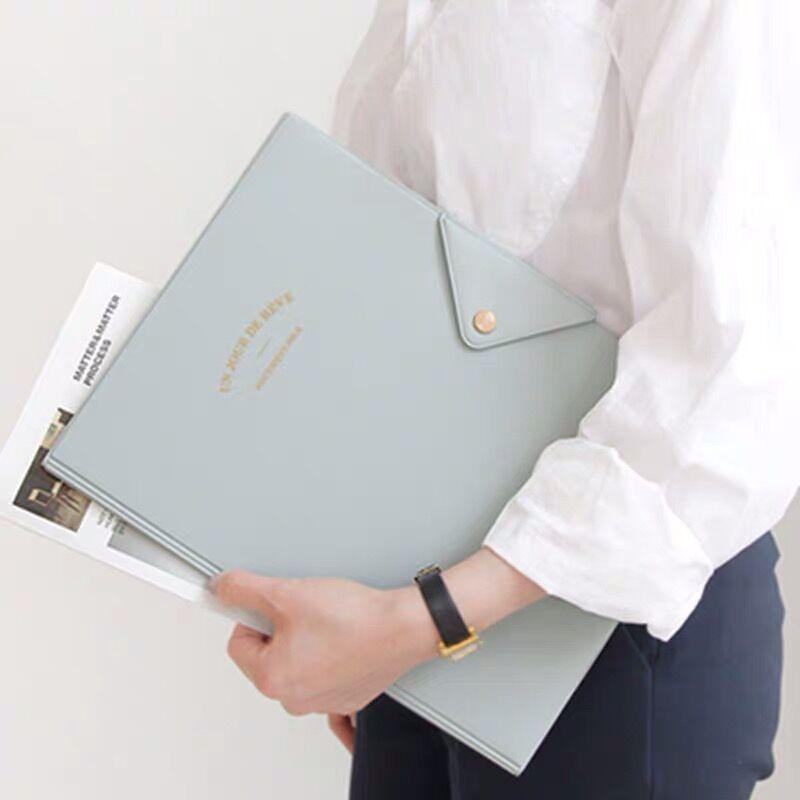 1PC Kawaii Korean Fashion Business A4 File Folder Document Paper Bag Multi-function Desk Organizer Storage Case Stationery