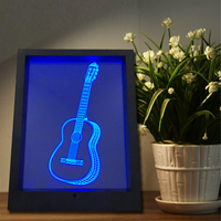 Creative 3D Guitar Illusion Wall Frame Touch Lamp LED 7 Color Change Novelty Bedroom Night Light
