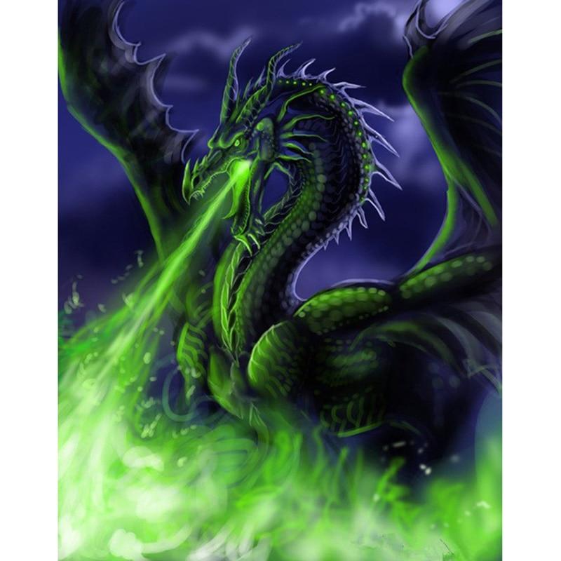 Needlework 3D Diamond Embroidery Green fire dragon Full ...Fire Flames Dragon