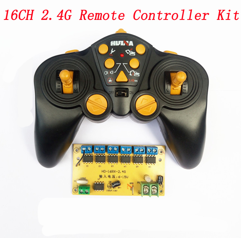 DIY Excavator Remote Control Toy Cars 16CH 2.4G Radio Sytem Controlling Parts DC 6-15V Transmitter+Receiver Board 5A Large Power