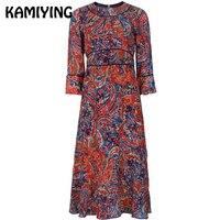 KAMIYING шелк тутового платье с рукавом три четверти для женщин миди платья для осень 2018 печати Vestido Рождественский подарок PKHC850