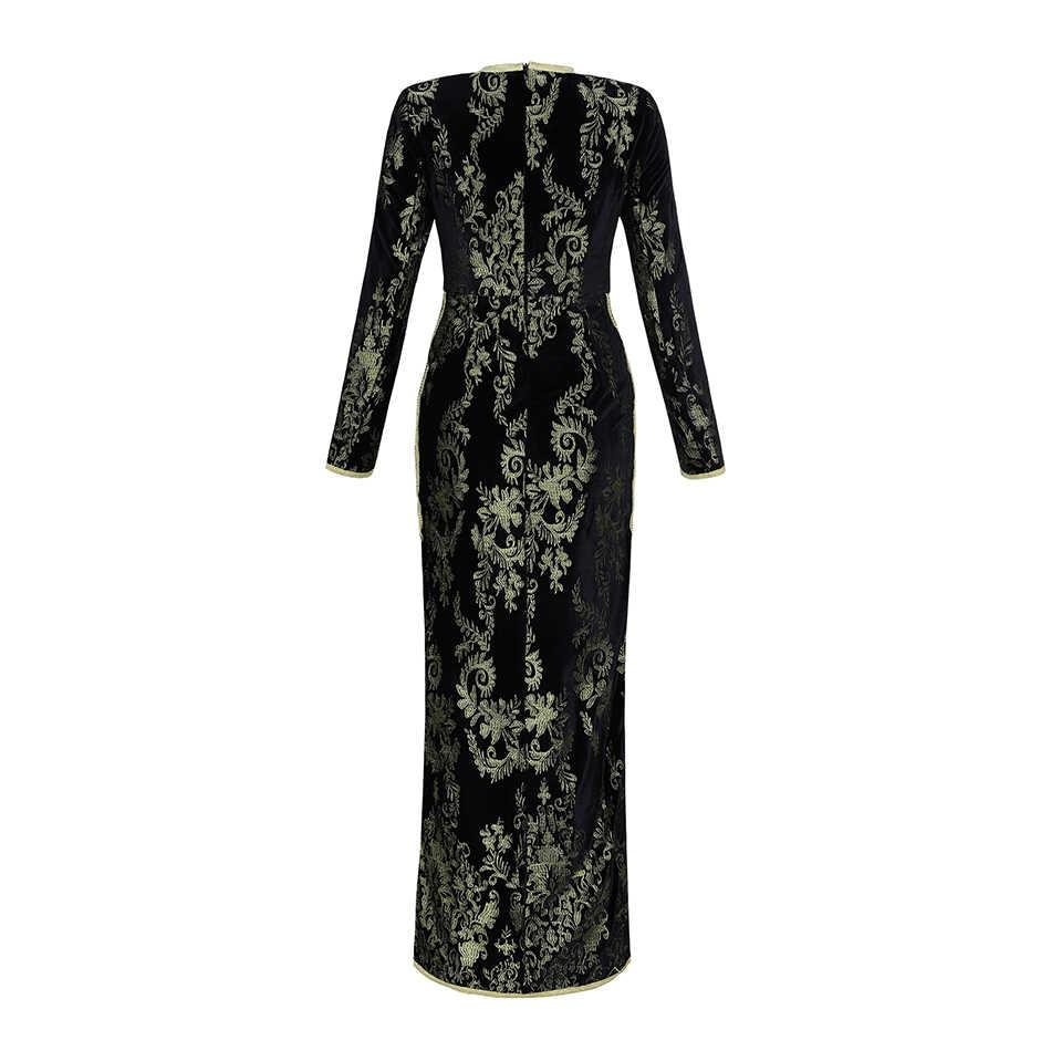 Seamyla 2019 高品質滑走路ドレス女性新ファッション花刺繍ヴィンテージロングドレス冬黒のイブニングパーティードレス