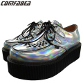 Plus Size 34~40 Fashion Silver Laser Hologram Women Goth Punk High Platform Flat Creepers Shoes HARAJUKU Creeper Woman Girls