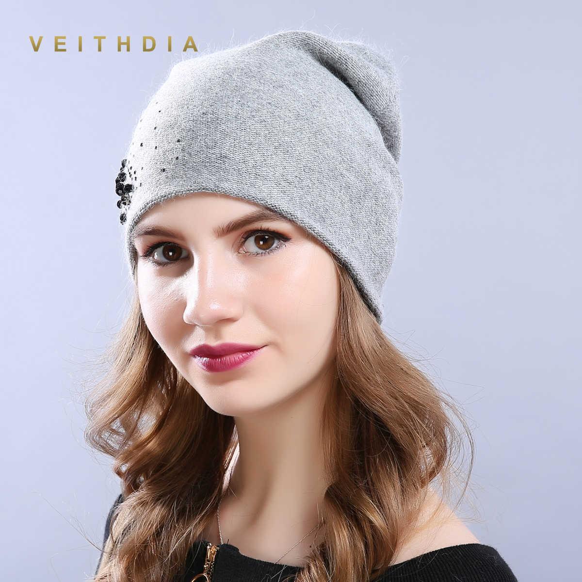 OCCHIALI DA SOLE VEITHDIA Cappelli delle Donne di Cachemire Femminile casual Autunno Inverno Brand New Di Cristallo A Doppio Strato di Spessore Lavorato A Maglia Delle Ragazze Skullies Berretti