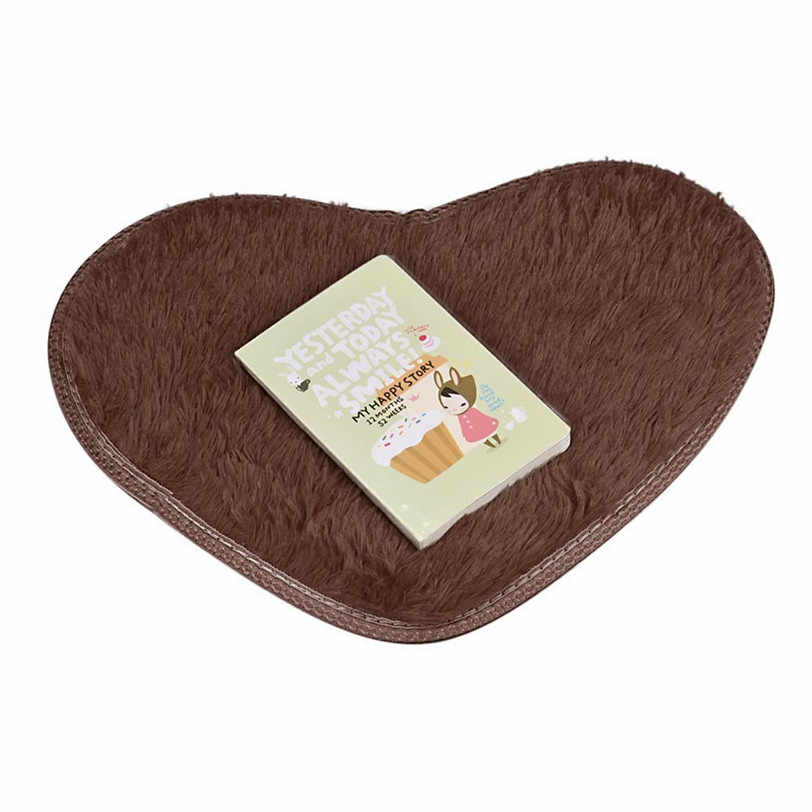 Coral Fleece Heart-Shaped Carpet 40*28cm Non-slip Bath Mats Kitchen Bathroom Home Decor Carpet For Living Room
