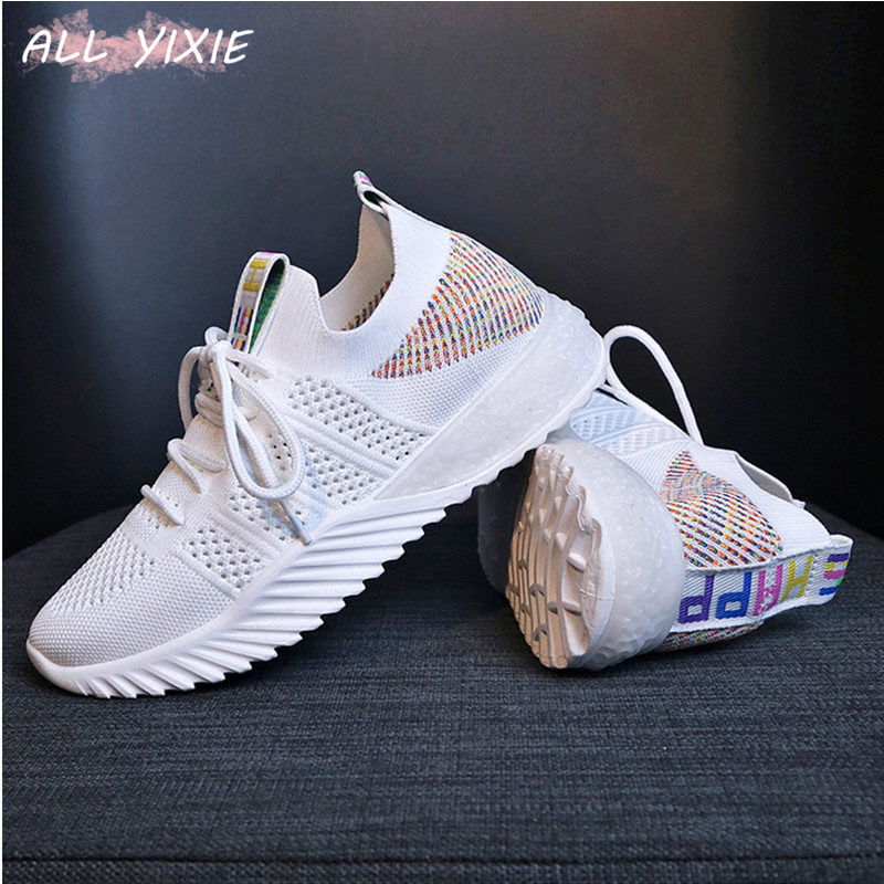 ALL YIXIE 2019 New Summer White Mesh Women Sneakers Fashion Thick Bottom Womens Platform Casual Shoes Zapatos De Mujer