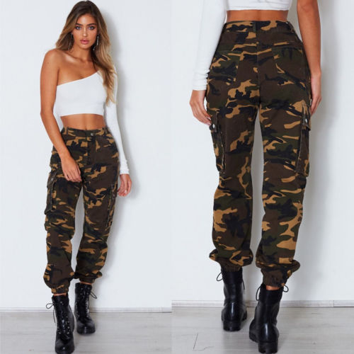 41a82fcc3cfc1 Womens Lady Camo Cargo Trousers Casual Pants Military Army Combat  Camouflage Pants Jeans Women Clothing