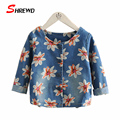 Denim Jackets For Girls 2016 Aututmn New Fashion Flowers Baby Girl Jacket Long Sleeve Single-breasted Kids Clothes Girls 4120W