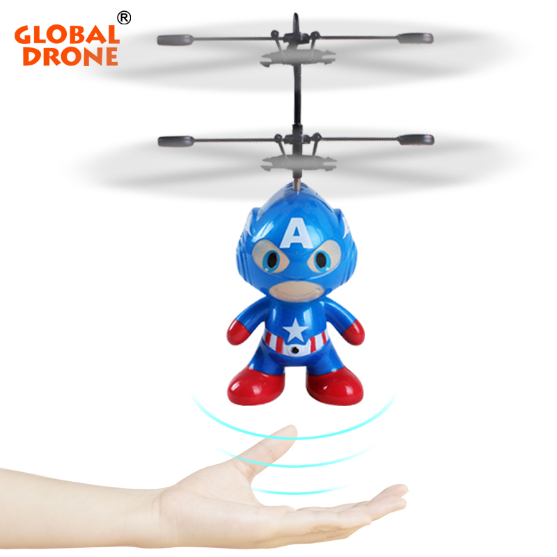 Global Drone RC Helicopter Drone 2 Channel Remote Control Spaceman Helicopter Induction Aircraft Toy Indoor Children Gift Toys
