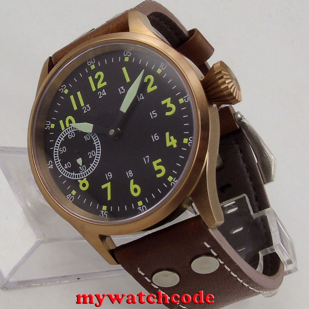 43mm corgeut black sterile dial bronze plated case sapphire glass 6497 hand winding mens watch