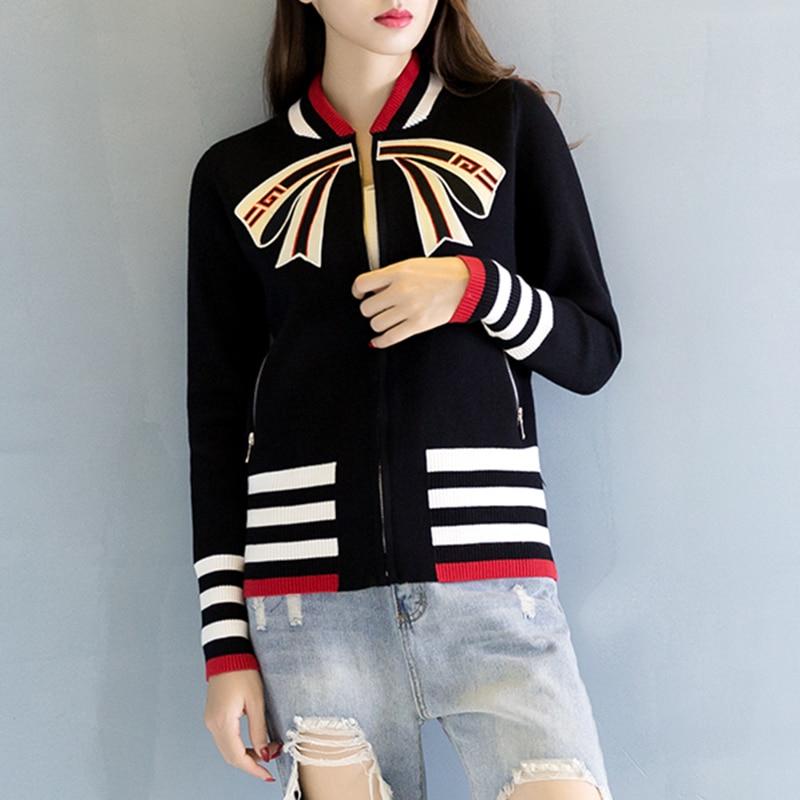 Multi Veste Broderie Zipper En Manteau Arc couleur Tricoté Rayé Haute Taille Red 2018 Femmes Patch black Tricot Designs Baseball SvqxnYwAE