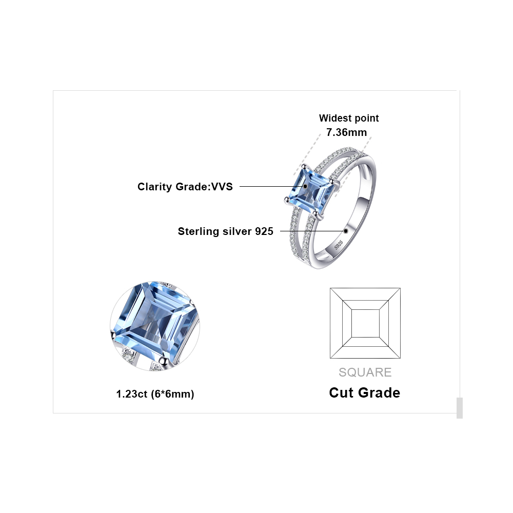 Image 5 - JewelryPalace Princess Genuine Blue Topaz Ring 925 Sterling  Silver Rings for Women Engagement Ring Silver 925 Gemstones Jewelryring  fashionring forrings for women