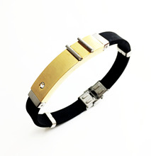 Jewelry Retro Trend Men Fashion Simple Hand Ring Stainless Steel Silicone Bracelet