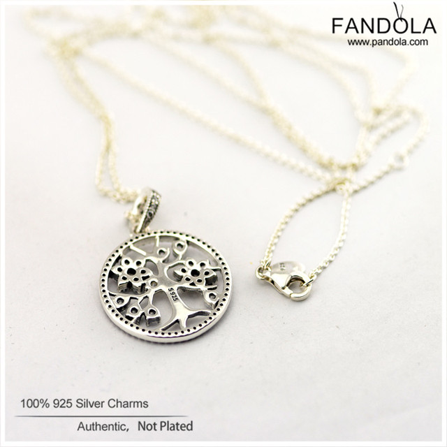 Family Tree Necklaces & Pendants with Clear CZ 100% 925 Sterling Silver Jewelry Women Charm Pendant Wholesale