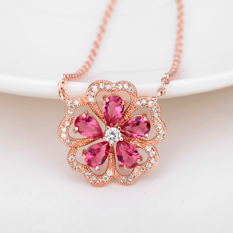 18k rose gold plated trendy aaa zircon stone women accessories 18k rose gold plated trendy aaa zircon stone women accessories jewelry pink rose flower pendant necklace ulike ul nl0028 in pendant necklaces from jewelry audiocablefo