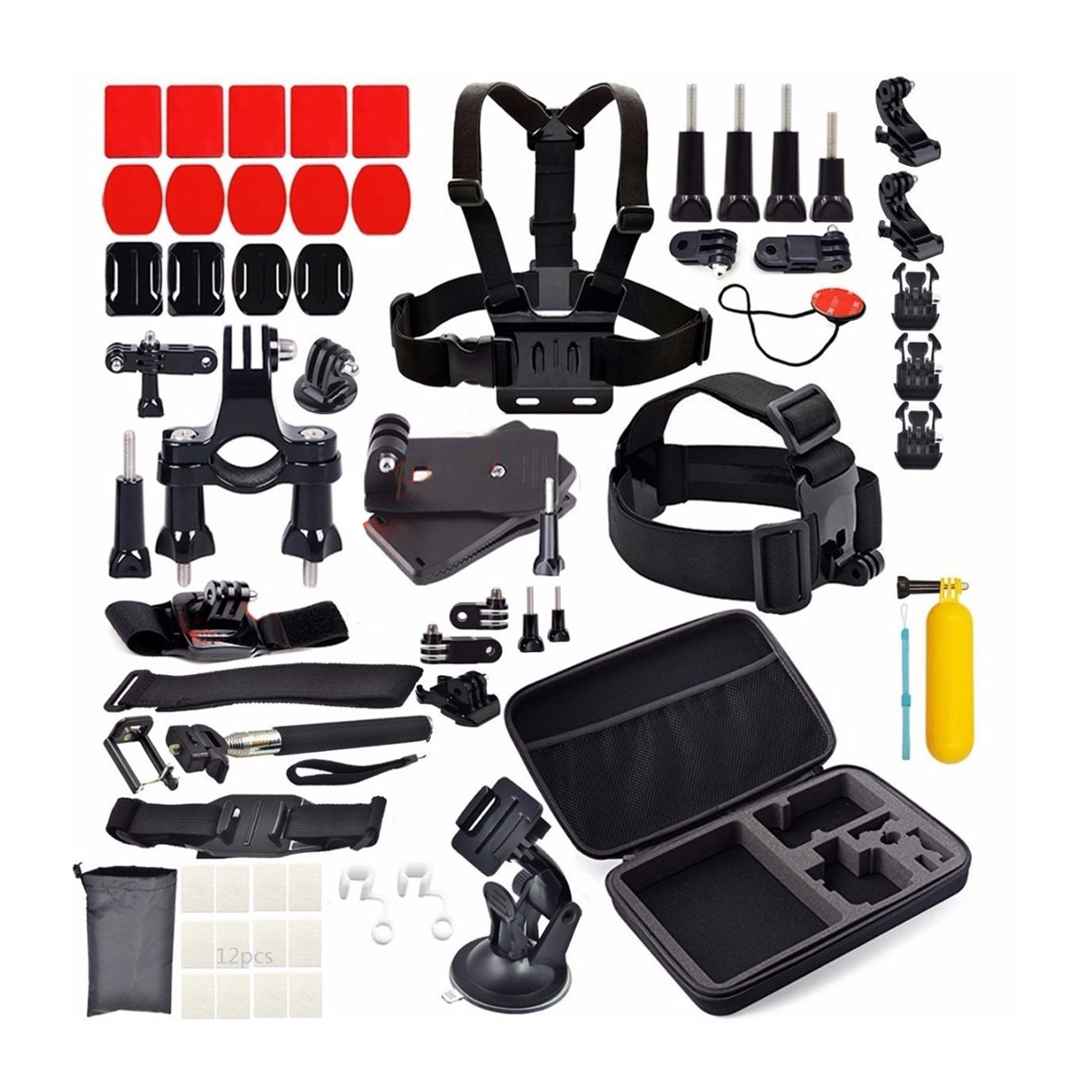 58 in 1 Accessories Set Kit for GoPro Hero 2 3 3+ 4 SJCAM Head Chest Strap Pole