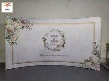 Tissu en aluminium en forme de C 10 pieds x 7,5 pieds, toile de fond publicitaire personnalisée pour mariage