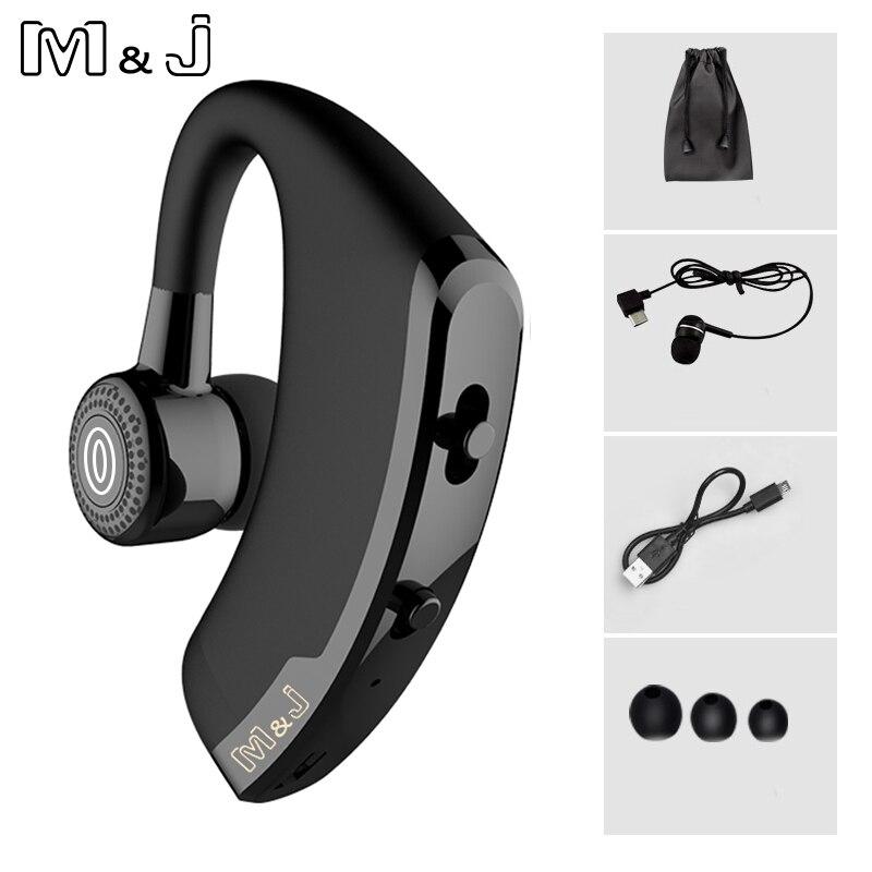 M & j v9 handsfree negócios sem fio bluetooth fone de ouvido com microfone controle voz fone de para a unidade conectar com 2 telefone