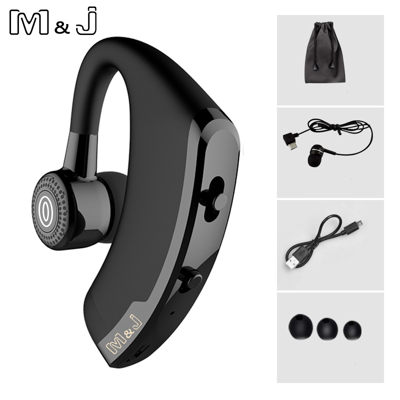 M&J V9 Handsfree Business Wireless Bluetooth Headset With Mic Voice Control Headphone For Drive Connect 2 Phone