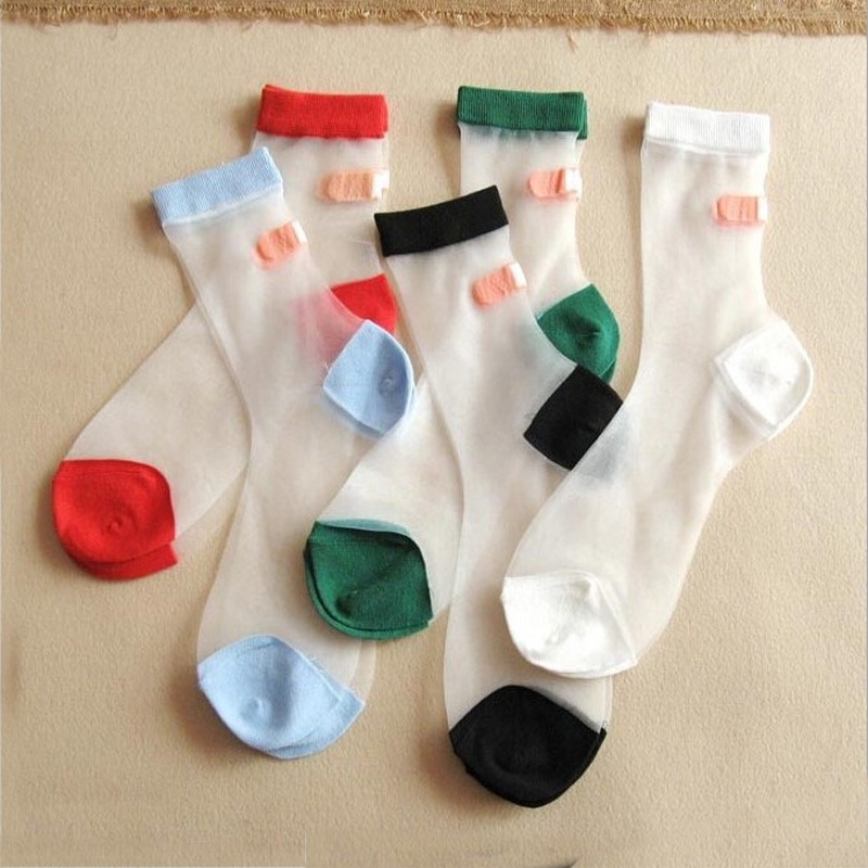 1 Pair Fashion Women Summer Lace   Socks   Crystal Glass Silk Short Thin Transparent Cute Bandage   Socks   Girls Ladies Calcetines