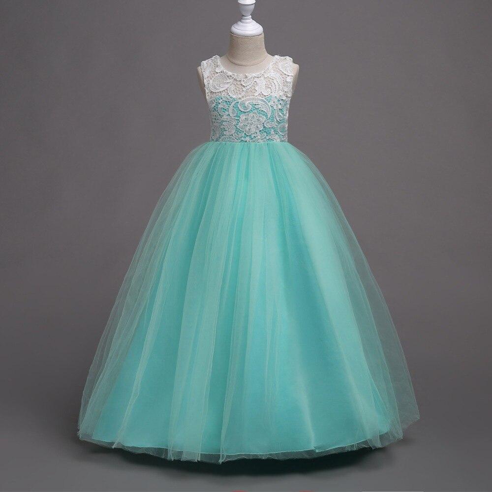 Venta al por menor nuevo estilo de la muchacha de la larga vestidos para fiesta y boda niños niñas de encaje y tul princesa vestido gratis envío Lace007