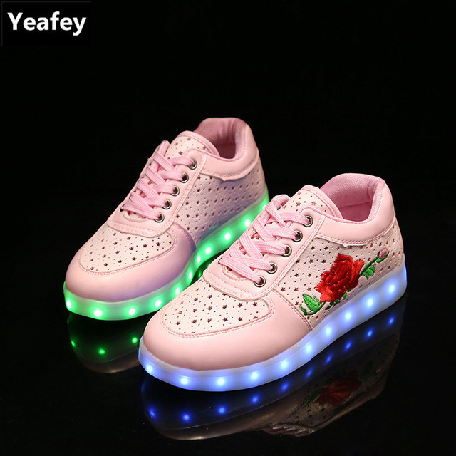 LED USB Shoes Sport Sneakers Lumineuses Chaussures Femme Fille Mode NOIR Taille:39 zh5Ppe