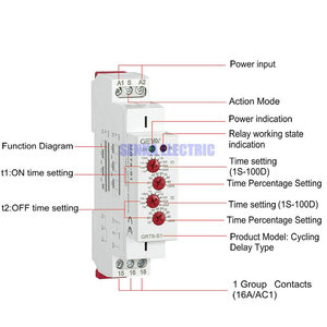 Image 3 - GRT8 S 4 Knobs Adjustable AC220V 16A AC/DC12V 240V Repeat Relay SPDT Timer Electric Protective Asymmetric Cycle Time Relay