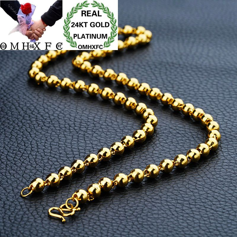 OMHXFC Wholesale European Fashion Man Male Party Wedding Gift Long 50 55 60cm Full Beads Real 24KT Gold Chain Necklace NL33OMHXFC Wholesale European Fashion Man Male Party Wedding Gift Long 50 55 60cm Full Beads Real 24KT Gold Chain Necklace NL33