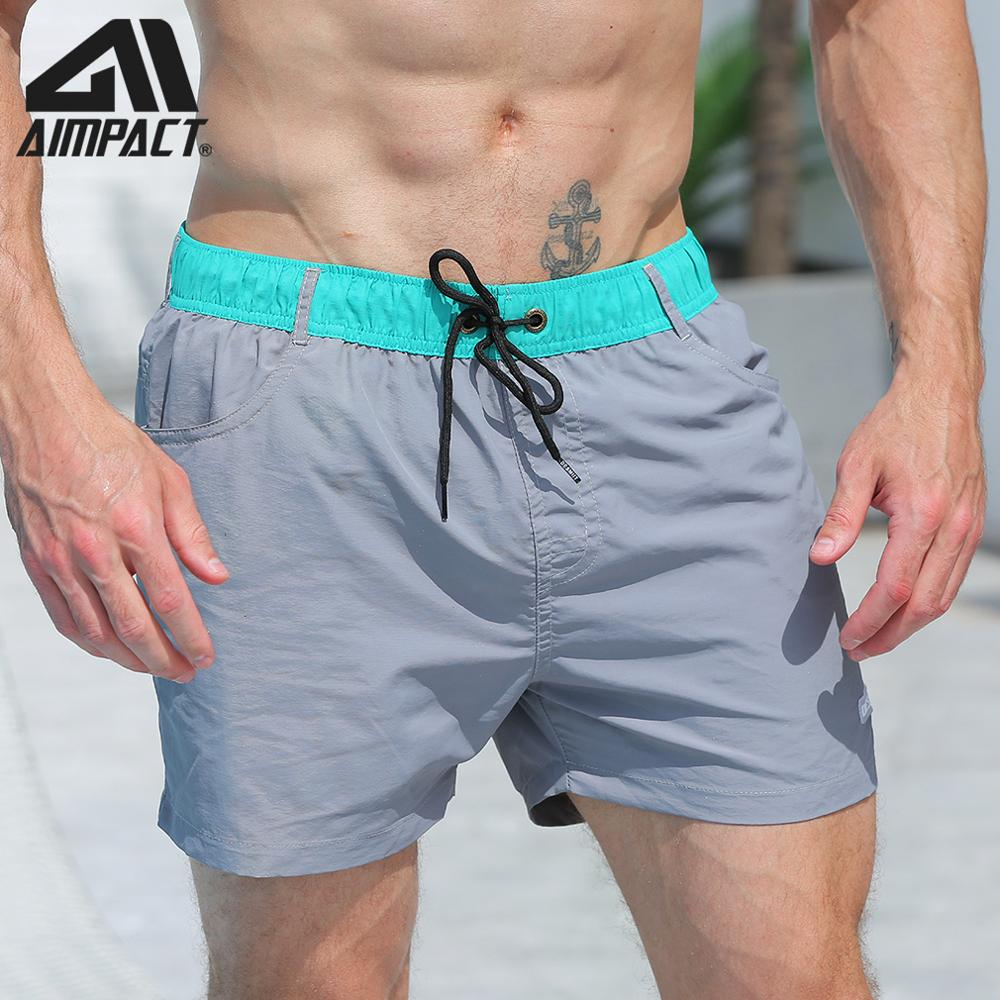 Desmiit Fast Dry Men's   Board     Shorts   with Lining Sexy Drawstring Surf Swim Trunks with Pockets Male Holiday Beachwear Sport DT89