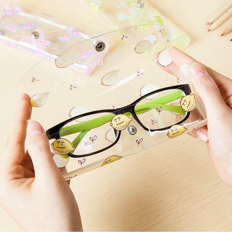 1 Pc Eyewear Case Fruit Patroon Transparante Zacht Plastic Bril Protector Case Make-up Kwasten Houder Studenten Potlood Gevallen Kleuren Zijn Opvallend