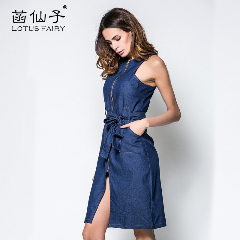 e668550a53 Blue elegant sleeveless zippers Split denim dress woman Knee Length Slim  sashes Bodycon high quality formal fashion jean dresses-in Dresses from  Women s ...