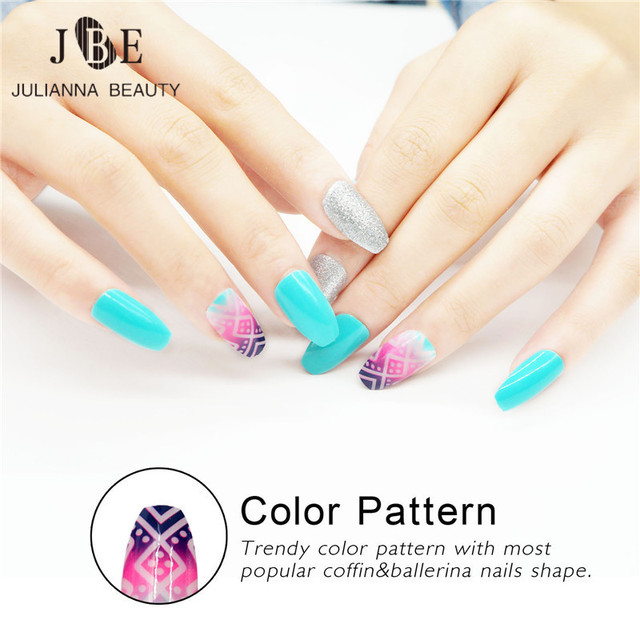 Fashion Press On Nails Silver Glitter Elegant Long Nail Tips ...