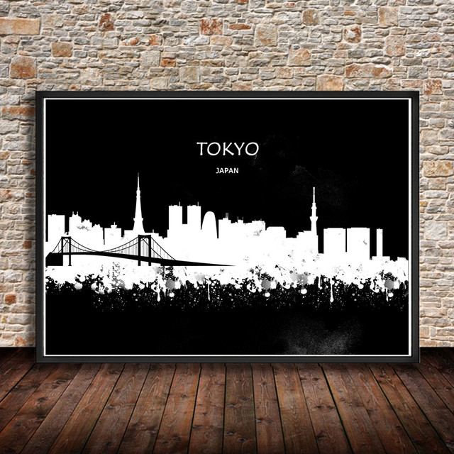 Tokyo japan modern abstract watercolor painting city building print poster living room wall sticker bar cafe
