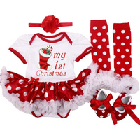 My First Christmas Baby Clothes Newborn Girls Dress Santa Tree Hat 4PCS Set Cotton Bebe Birthday Costume Babies Rompers Outfits