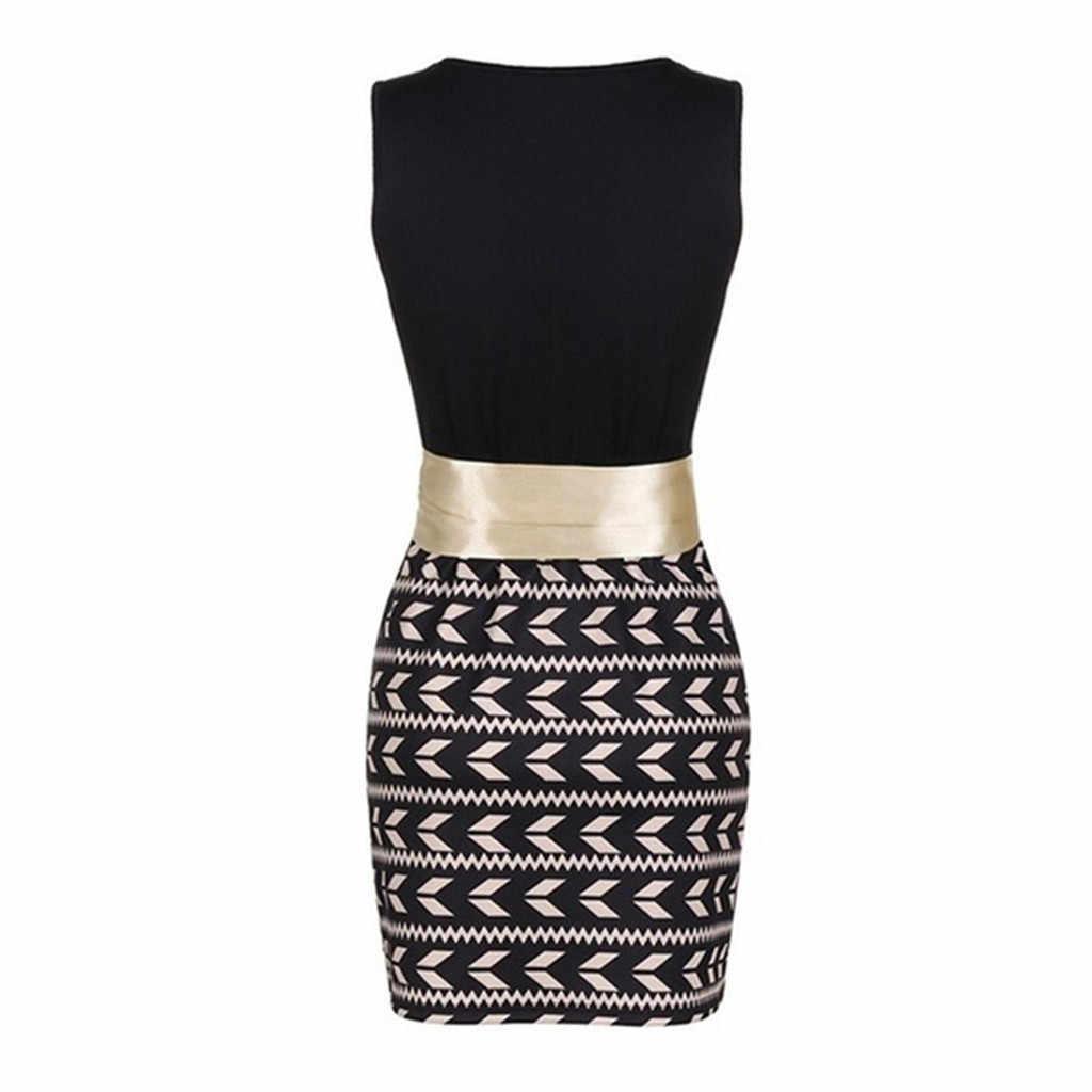 Fashion Women Casual Sexy Sleeveless O-Neck Print Tight Belt Fitting Mini Dress vestidos de verano summer clothes for women